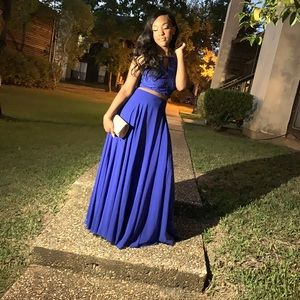 royal blue two piece set for homecoming/prom